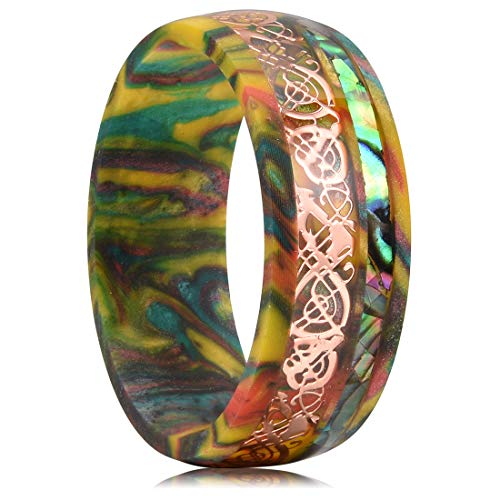 King Will 8mm Men's Colored Resin Ring Inlaid Rose Gold Celtic Dragon&Abalone Shell Wedding Bands 10(Resin Pattern and Color Random)