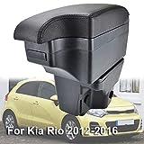XUKEY Dual Layer Car Armrest Fit for Kia Rio 2012-2016 Arm Rest Storage Box Black Leather