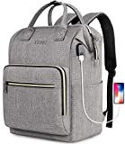 Travel Laptop Backpack for Women 15.6 Inch Stylish College School Backpack with USB Charging Port, RFID Anti Theft Water Resistant Casual Daypack Backpacks Purse for Business Travel Gifts, Gray