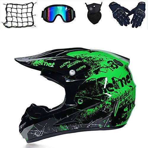 Juego de casco de motocross, protección de seguridad para motocicleta, casco de cross para bicicleta de montaña, con gafas, guantes, máscara, red, protección infantil (GS y L)