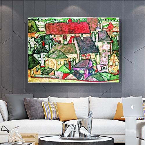 Rahmenlose MalereiÖlmalerei Poster und Drucke Wandkunst Leinwand Bilder Wohnzimmer Dekoration abstrakte Stadt40X60cm