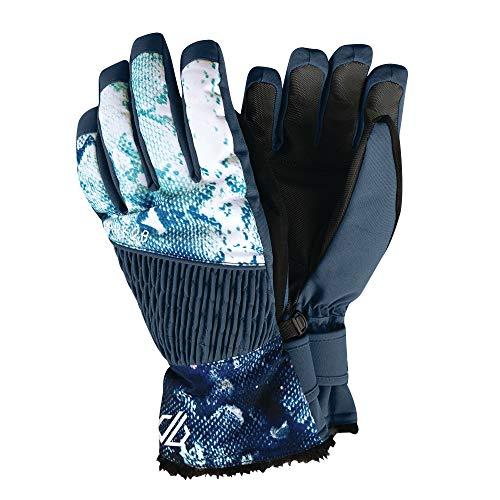 Dare 2b Gants de Ski Femme Daring Ultra imperméables, Respirants et isolants avec Doublure Chaude et Poignets Ajustables bordés de Fausse Fourrure Gloves, Blue Wing, FR : L (Taille Fabricant : L)