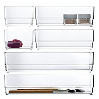 STORi Clear Plastic Drawer Organizers | 6 Piece Set