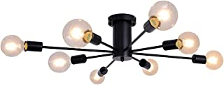 PUMING 8 Lights Black Mid-Century Sputnik Chandeliers for...