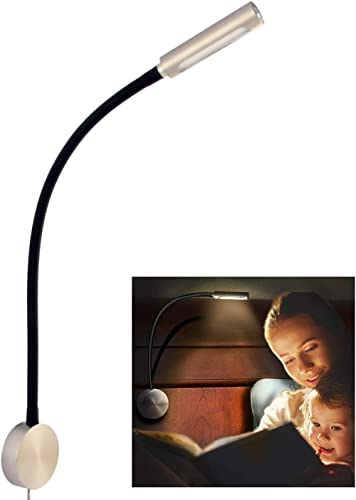 acegoo Bedside LED Reading Light Dimmable Flexible Gooseneck Bedroom Wall Lamp with USB Charger and Rotary Lens, LED ...