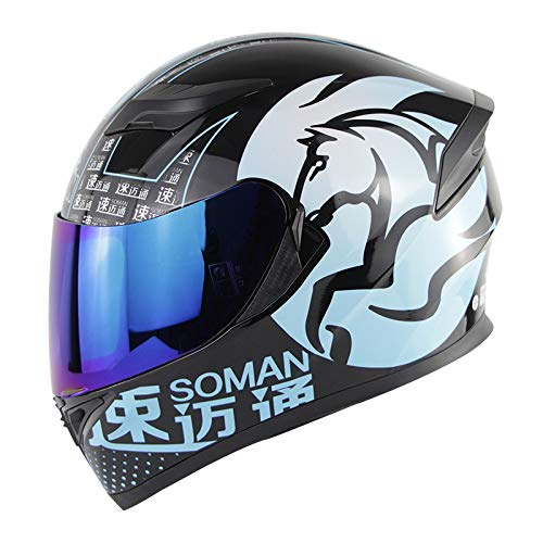 Redcolourful Motorradhelm Herren Integralhelm Moto Riding ABS Material Motocrosshelm blaues Pferd Blaue Linse S Autozubeh?r