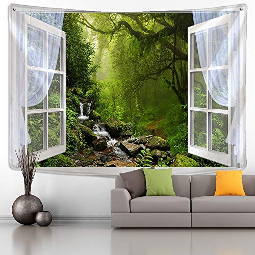 KHKJ Fenster Wald Pflanze Landschaft Tapisserie natürliche Landschaft Wandbehang Indian Throw Mandala Hippie Tagesdecke Home Decor A6 200x180cm