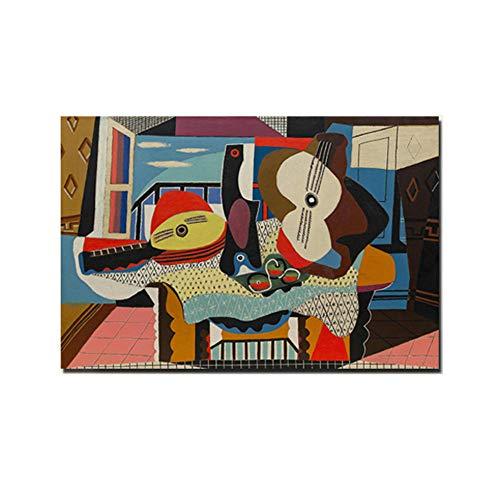 Pablo Picasso Poster Impresiones Mandolina Y Guitarra Lienzo Pintura Abstracto Pared Arte Pintura Moderno Salon HabitacióN Hogar Decoracion Cuadros 40x65cm No Marco