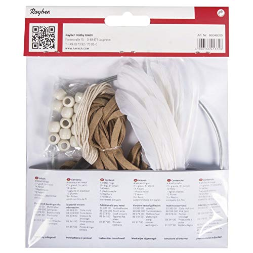 Rayher 66046000 Bastelpackung: DIY Traumfänger, 17x33cm, beige/braun,