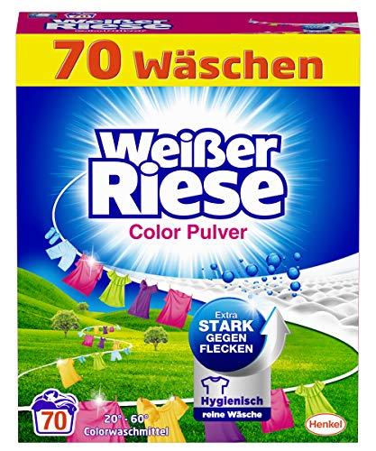 Weißer Riese Color Pulver (70 Waschladungen), Colorwaschmittel extra stark gegen Flecken, ergiebiges Waschpulver, ideal für Familien mit Kindern