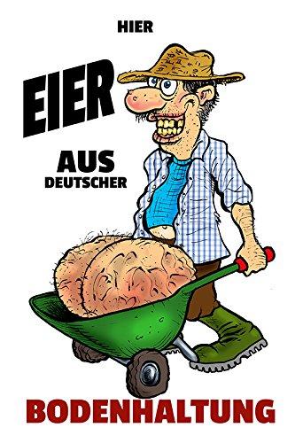 Schatzmix Spreuk Eier van Duitse bodemhouder Kruiwagen metalen bord 20x30 cm Wanddecoratie tin sign blikken schild, blik, meerkleurig