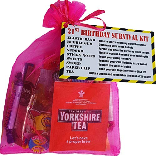Pink 21st Birthday Survival KIT Gift / Present - a Fun Cheeky Gift to Make Them Smile Birthday idea for Mum Sister Female Friend