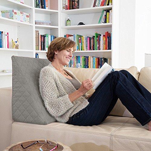 La Almohada Tipo Cuña increíble - para Su Sala De Estar o Su Recamara, Almohada para Leer con Un Sentado Relajado Diseño De Moda (Gris)