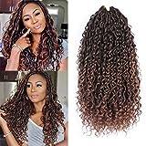 6 Packs Alimiriam New Goddess Locs Crochet Hair Faux Locs Wavy Crochet Curly Hair Faix Locs Crochet 18 inch with Curly Ends River Curls Crochet Hair (18' 6Packs Color T/30)