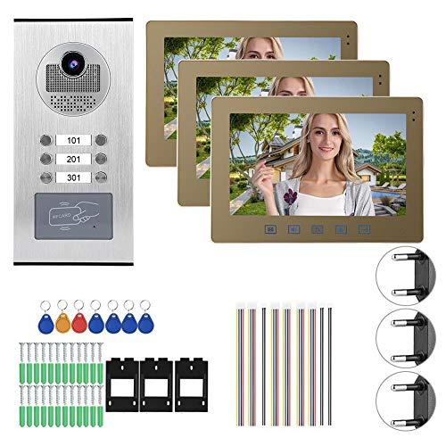 Zouminyy Timbre de Video, Videoportero de 10 Pulgadas, 3 monitores Sistema de Acceso al hogar con intercomunicador de visión Nocturna, Sistema de Control de Seguridad para el hogar(Enchufe de la UE)