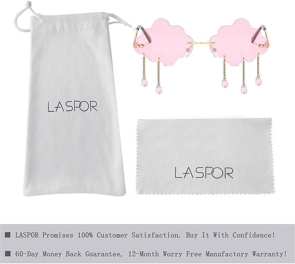 LASPOR Retro Rimless Sunglasses for Women Men Vintage Metal Frameless Cloud Glasses Raining Crystal Pendant UV400 Protection