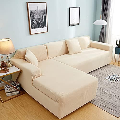 Plush soffa täcker för vardagsrum sammet elastisk hörn sektion soffa kärlek säte täcker fåtölj l-formade möbler slipcover för vardagsrum husdjur,Creamy,4seaters235~300cm