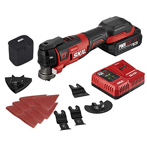 SKIL PWRCore 20 Brushless 20V Oscillating Tool Kit with 35pcs Sanding Paper, 3 Blades, Sanding Pad, Rigid Scraper, Accessory Case, Includes 2.0Ah Lithium Battery & PWRJump Charger - OS5937-10