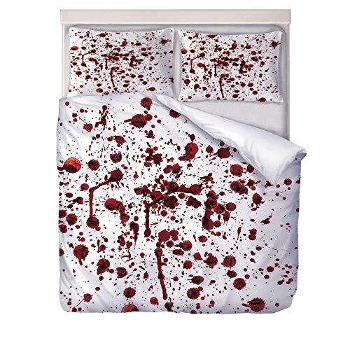 JCbedding 3 TLG. Bettbezug mit bettwäsche 200x200cm Drucken 2 Kissenbezügen 80 x 80 cm Blutflecken Hochwertiger Stoff Falten- und Verblassungsbeständig Atmungsaktive Baumwoll
