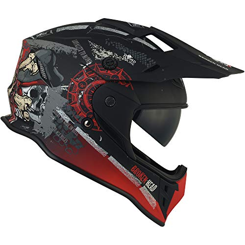 Broken Head Road Pirate Cross-Helm mit Visier   Endurohelm – MX Motocross Helm mit Sonnenblende – Quad-Helm Größe M (57-58 cm) - 7