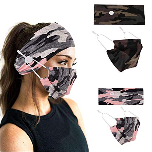 Studio 10 Headbands with Buttons for Face Cotton Mask, Non Slip Nurse Headbands Holder, Sport Sweatband Yoga Gym Stretch Elastic Hair Band for Women (4pack,Style-2)