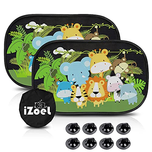 MOVINPE Car Sun Shade for Baby Kids 2 Pack Static Cling Side Window Car 80GSM Rear Sunshades Universal with 8 Suction Cups and Storage Bag - Sun Glare and UV Rays Protection Jungle Animals