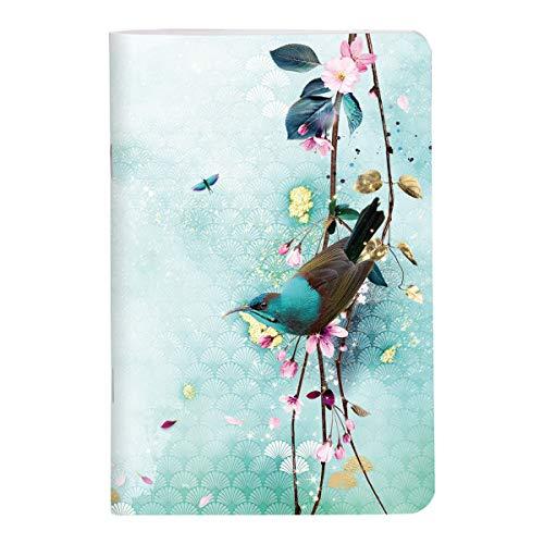 Clairefontaine 115581C - Un Carnet Piqué motifs Floral/Oiseaux - 11x17 cm 96 Pages Lignées papier Blanc 90g - Collection Sakura dream – 2 visuels foncés, 2 visuels clairs, livraison aléatoire