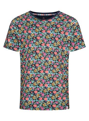 Colours & Sons Herren T-Shirt Pablo - Reine Baumwolle, Rundhalsauschnitt, Blumenprint, Mehrfarbig, M
