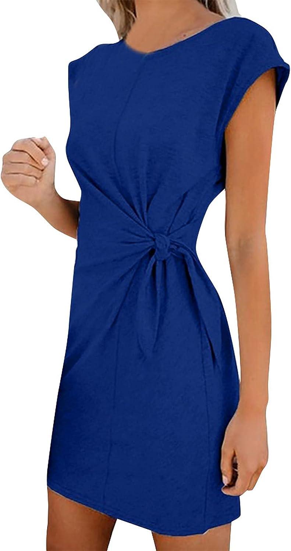 ManxiVoo Women's Round Neck Cap Sleeve T-Shirt Dress Waist Tie Short Mini Dress for Summer