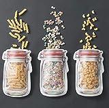 DIIYer-Bu Frischhaltebeutel für Lebensmittel, Mason Flasche, Aufbewahrungstasche für Kekse, Snack, Lebensmittel, Rot