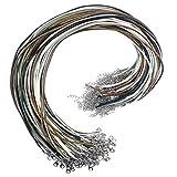 Netspower 100Pcs Collar Pulsera Cadena, Cordón de hilo de línea de cera, Cordón de hilo redondo con cierre de langosta y Banda de collar de cadena de extensión para mujeres Hombres (5 Colores)