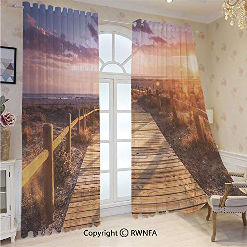 Sheer Curtains 84 inches Long Sunset with Clouds in Cabo de Gata Nijar Natural Park Bridge Way with Fences Sheer Window Treatment Voile Drape Panels with Grommet Top(2-Pack,52 Wx 84 inch L),Multi