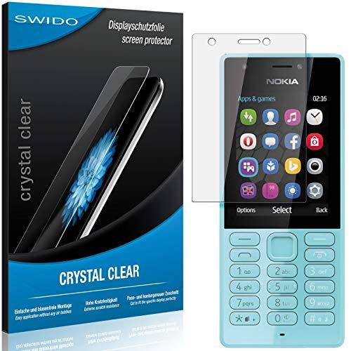 SWIDO Schutzfolie für Microsoft Nokia 216 [2 Stück] Kristall-Klar, Hoher Festigkeitgrad, Schutz vor Öl, Staub & Kratzer/Glasfolie, Bildschirmschutz, Bildschirmschutzfolie, Panzerglas-Folie