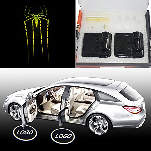 SHE'O 2x Bright Green Spider Magnetic Wireless car door projector LED projection courtesy welcome logo shadow ghost light Magnet Sensor Powered by battery