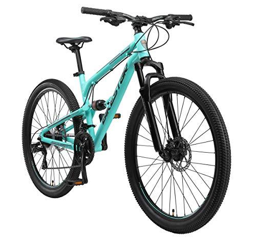 BIKESTAR Fully Aluminium Mountainbike Shimano 21 Gang Schaltung, Scheibenbremse 27.5 Zoll Reifen | 16.5 Zoll Rahmen Alu MTB Vollgefedert | Mint
