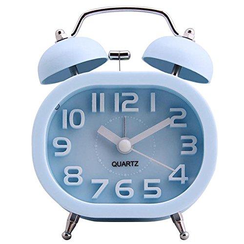 """3\"""" Reloj Despertador de Doble Campana, COOJA Retro Alarma Despertador Analógico de Cuarzo Silencioso sin Tic Tac con Alarma Fuerte y Luz Nocturna, Azul"""