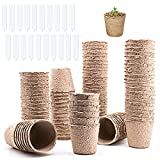 JiangLin 100 macetas biodegradables para plantas, siembra, jardín, macetas de turba con 20 tarjetas de identificación de plástico con agujeros.