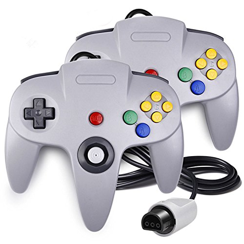 QUMOX 2 x Controlador Mando de Juego Joystick para Nintendo 64 N64 System Gamepad, Gris