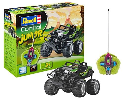 Revell Control Junior 23014 RC Crash Car, 40MHz, mit Spielfigur und Schleudersitz-Funktion, durch Bausteine leicht zusammenbaubar, für Kinder ab 3, ferngesteuertes Auto, Dino-Design, 24 cm