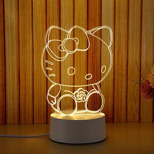 Veilleuse Lled lampe de chevet 3D petite lampe de table chambre plug-in cadeau d'anniversaire pour petite amie Creative Hello Kitty (bouton tricolore)