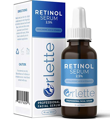 Orlette Retinol Serum 2.5% - Professional Grade Skincare - Vitamin A and E, Hyaluronic Acid - Anti-Aging, Hydrating Skin and Face Moisturizer - Wrinkle, Acne Spot, Pigmentation, Blemish Remover - 30ml Orlette
