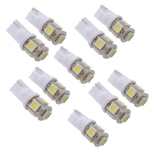 Sunsdew 10 x T10 194 168 W5W 5 SMD 5050 LED Lampara Bombilla luz de Noche Xenon Blanco para Coche