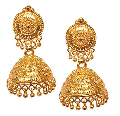 Pahal - Pendientes tradicionales de estilo jhumka chapados en oro para mujer (diseño 3)