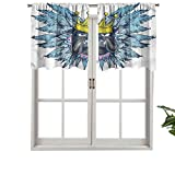 Hiiiman Cenefa corta recta, con plumas de corona, juego de 2, 106,7 x 60,9 cm para ventanas de cocina
