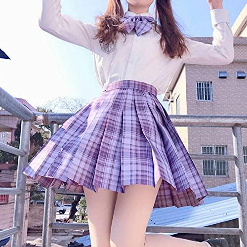 Falda Plisada Uniforme Escolar para Niña Faldas Plisadas Uniforme Escolar Japonés Falda A Cuadros De Cintura Alta Una Línea Uniformes Atractivos Jk para Mu