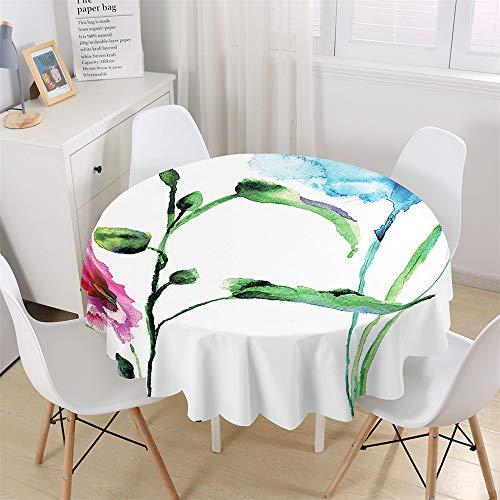 Chickwin Mantel Redondo para Mesa Impermeable y Antimanchas, Mantel Estampado Floral Acuarela 3D, Mantel de Poliéster para Jardin, Comedor, Cocina, Salón Decoración (Elegante,150cm)