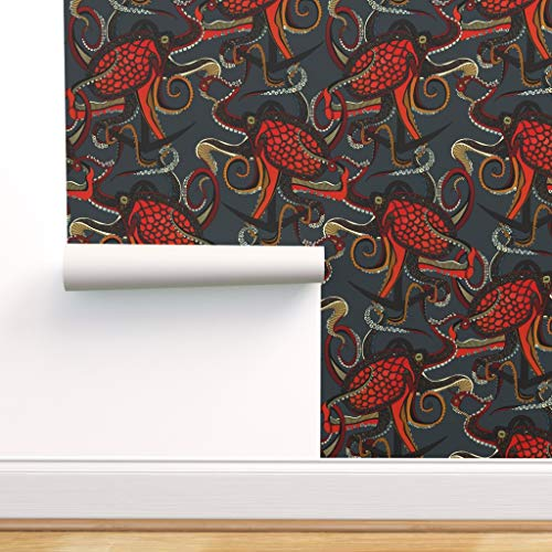 Spoonflower Pre-Pasted Removable Wallpaper, Anchor Nautical Octopus Red Black Ocean Steampunk Tattoos Print, Water-Activated Wallpaper, 12in x 24in Test Swatch
