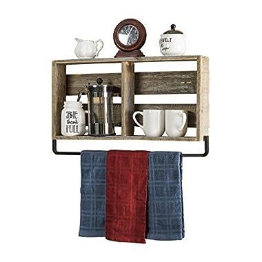 del Hutson Designs - Barnwood Kitchen Shelf w/ Towel Holder, USA Handmade Reclaimed Wood