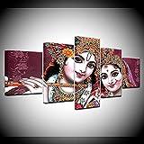 DUODUOQIAN India Dios Radha Krishna 5 Cuadros En Lienzo Cuadros Decoracion Amigable con El Medio Ambiente Wall Mural Decoraciónlisto Colgar Marco (150×80Cm)