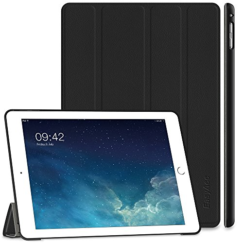 EasyAcc Hülle Kompatibel mit iPad Air 2, Ultra Slim Cover Schutzhülle PU Lederhülle mit Standfunktion/Auto Sleep Wake Up Funktion Kompatibel mit iPad Air 2 2014 Modell Number A1566/A1567 - Schwarz